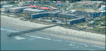an aerial photo taken at Sea Cabins in Isle Of Palms, SC